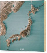 Japan 3d Render Topographic Map Neutral Border Wood Print
