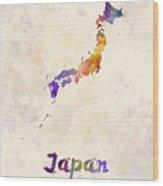 Japan In Watercolor Wood Print