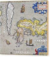 Japan: Map, 1606 Wood Print