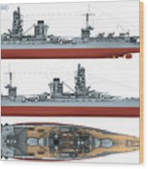 Japanese Battleship Ise Wood Print