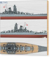 Japanese Battleship Yamato Wood Print