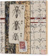 Japanese Bees Wood Print