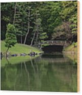 Japanese Garden Bridge Reflection Wood Print