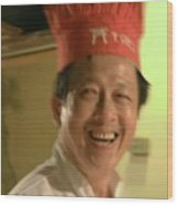 Japanese Chef Wood Print