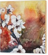 Japanese Cherry Blossom Abstract Flowers Wood Print
