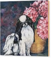 Japanese Chin And Hydrangeas Wood Print