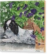 Japanese Chin Puppy And Petunias Wood Print