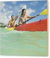 Japanese Couple Kayaking Wood Print