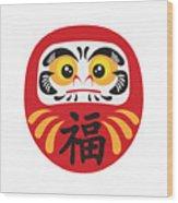 Japanese Daruma Doll Illustration Wood Print