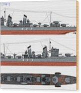 Japanese Destroyer Fubuki Wood Print