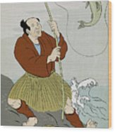 Japanese Fisherman Fishing Catching Trout Fish Wood Print by Aloysius Patrimonio