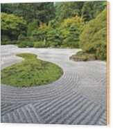 Japanese Flat Garden With Checkerboard Pattern Wood Print