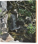 Japanese Garden And Koi Pond Wood Print