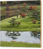 Japanese Garden Autumn Wood Print