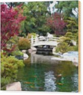Japanese Garden Bridge And Koi Pond Wood Print