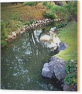 Japanese Garden Reflection Wood Print