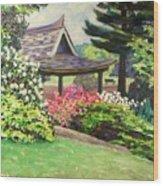 Japanese Garden-spring Blossoms Wood Print