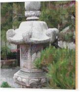 Japanese Garden Stone Lantern Statue Wood Print