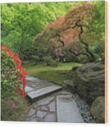 Japanese Garden Strolling Stone Path Wood Print