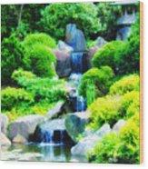 Japanese Garden Waterfall Wood Print
