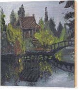Japanese Garden With Bridge Wood Print