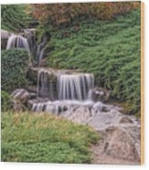 Japanese Gardens Waterfall Wood Print