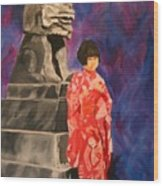 Japanese Girl With Chinese Lion Wood Print
