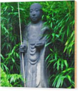 Japanese House Monk Statue Wood Print