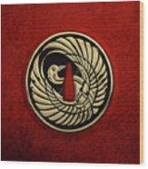 Japanese Katana Tsuba - Golden Crane On Black Steel Over Red Velvet Wood Print