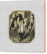 Japanese Katana Tsuba - Golden Twin Dragons On Black Steel Over White Leather Wood Print