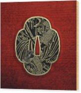 Japanese Katana Tsuba - Golden Twin Koi On Black Steel Over Red Velvet Wood Print