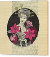 Japanese Lady With Cherry Blossoms Wood Print
