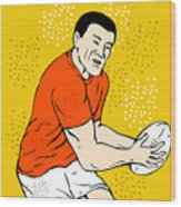 Japanese Rugby Player Passing Ball Wood Print