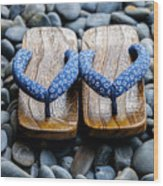 Japanese Sandals Wood Print