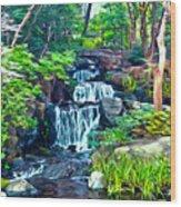 Japanese Waterfall Garden Wood Print