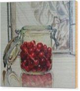 Jar Of Cherries Wood Print