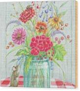 Jar Of Flowers Wood Print