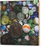 Jar Of Marbles Wood Print