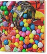 Jar Spilling Bubblegum With Candy Wood Print
