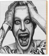 Jared Leto As The Joker Wood Print