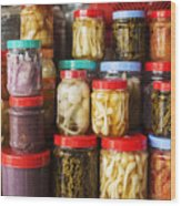 Jars Of Asian Style Pickles In Kep Market Cambodia Wood Print