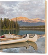 Jasper Lake Canoes Wood Print
