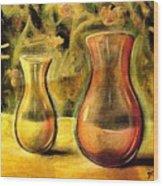 Jaune Et Magenta Wood Print