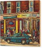 Java U Coffee Shop Montreal Painting By Streetscene Specialist Artist Carole Spandau Wood Print by Carole Spandau