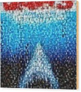 Jaws Horror Mosaic Wood Print