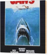 Jaws Movie Poster - 1975 Wood Print