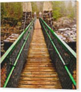 Jay Cooke Swinging Bridge In Fog Wood Print
