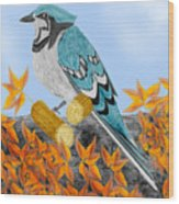 Jay With Corn And Leaves Wood Print