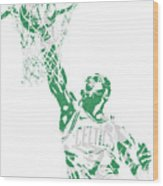 Jaylen Brown Boston Celtics Pixel Art 12 Wood Print