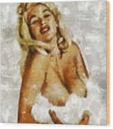Jayne Mansfield, Vintage Hollywood Actress And Pinup By Mary Bassett Wood Print